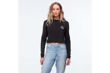 SUNSET DRIVE CROP LONG SLEEVE TEE BLACK ACID