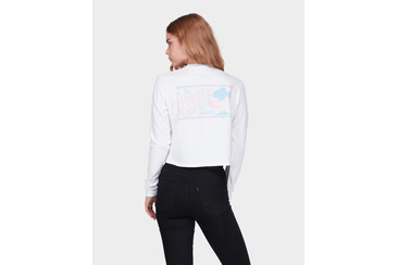 ISLANDER CROP LONG SLEEVE TEE WHITE