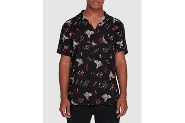 FLAMIN GALAH BUTTON UP SHIRT  BLACK