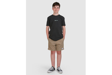 YOUTH TWILL DOGS ELASTIC WAIST SHORT  SAND